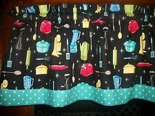 Retro Vintage Kitchen Appliances Baking Teal Polka Dot fabric curtain Valance