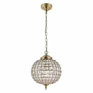 Dome Shape Single Ceiling Light Chandelier Glass Bead Detail Antique Brass 30cm