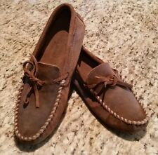 Minnetonka Moccasins Size 10 Mens 793 Brown Ruff Stitched Suede Loafers Driving