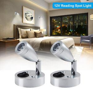 2Pcs LED Spot Reading Lights Switch Camper Caravan Van Boat Interior Light 12V