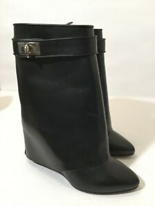 Givenchy Black Leather Shark Tooth Lock Foldover Wedge Heel Bootie Boot 35