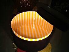 Giorgio Black Velvet Hat Box - Classic Yellow & White Interior-Empty Excellent!