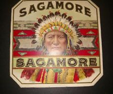SAGAMORE outer CIGAR LABEL- AMERICAN LITHOGRAPHIC CO.1900-1920 E.I. COUSE INDIAN