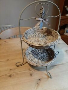 Shabby chic/country style 2 tier fruit basket / wicker display stand next style