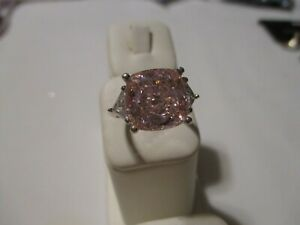 FABULOUS RETRO STERLING HUGE CUSHION CUT PINK ICE RING W/ TRILLION CZ ACCENTS