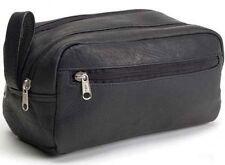 David King Vaquetta Leather Travel Kit Shaving Toiletry Bag AD 418 - Black
