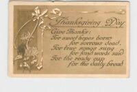 ANTIQUE POSTCARD THANKSGIVING DAY GIVE THANKS POEM FLOWERS RIBBON 1914 HAND CANC