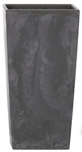 Large Tall Square Planter Marble Charcoal Grey Plant Pot 50cm Indoor / Outdoor