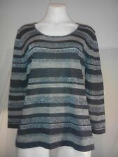 Liz Jordan Ladies Sweater in Charcoal Silver Sparkle and Grey Hoops Size L