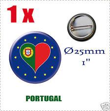 Badge Ø25mm Pays de l'europe des 28, drapeau en forme de coeur PORTUGAL