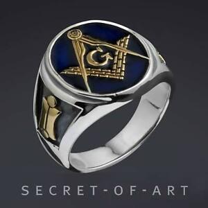 Freimaurer Ring Masonic Siegelring Blue Lodge Schmuck Silber 925 Gold-Plattiert