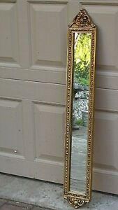 EARLY 20c FRENCH BEAUTIFUL VERTICAL WOOD ORNATE CARVED GILT FRAME MIRROR