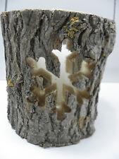 Holzlaterne Windlicht mit Glaseinsatz Baumstamm m Ornamenten Schneeflocke 37044