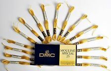DMC Mouline Special 25 Cross Stitch Thread 16 Skeins x 4 Metre Long 3821 Yellow