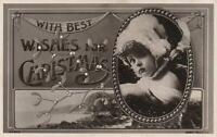 VINTAGE PHOTO of PRETTY GIRL BEST WISHES for CHRISTMAS POSTCARD - UNUSED