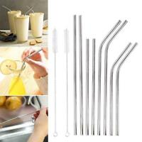 Reusable Rainbow Stainless Steel Metal Drinking Straw Straws &Cleaning Brush Set