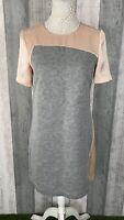 Tara Jarmon Pink Grey Satin Thick Slit Robe Shift Dress Size 38 UK 10