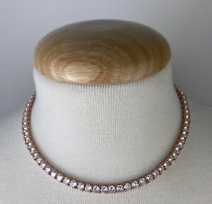 """GLd 5mm Round Cut 16"""" Tennis Necklace in Rose Gold Retail $209"""