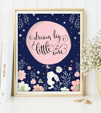 Bunny Nursery Print Baby Shower Decor Navy Pink Floral Rabbit Easter UNFRAMED