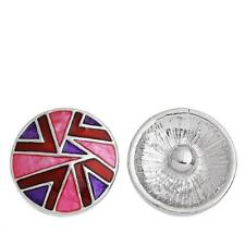 Chunk Snap Buttons Fit Chunk Bracelet Round Silver Tone Pattern Carved Enamel Re
