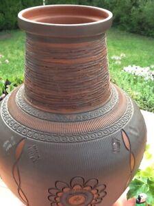 XXL Bodenvase Vase Keramik Ton braun Ritzdekor Ornamente handarbeit 45 cm hoch