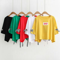 Women Girls Korean Summer 3/4 Sleeve Fashion  Blouse Bowknot  Base shirts Tops