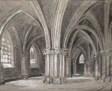 1930's French Drawing, Crypt of the Cathedral of Bourges, Signed Grassin-Delyle