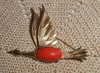 Vintage Flying Goose Duck Goldstone Jelly Belly Brooch Pin Gold Tone  A260