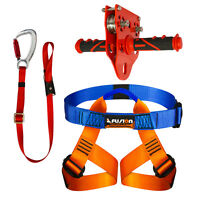 Fusion Climb Pro Backyard Zip Line Kit Harness Lanyard Trolley Bundle FK-A-HLT-34