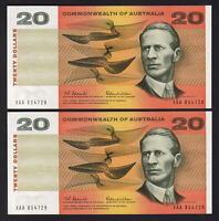R-401F.  (1966) Coombs/Wilson - 20 Dollars. 1st Prefix XAA.. aU-UNC. CONSEC Pair