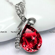 Tear Diamond Necklace Ruby Pendant Silver Jewellery Presents for Her Women J206