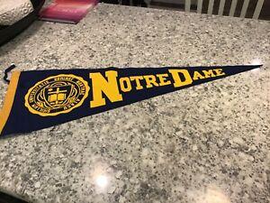 Vintage 1950s Blue and Gold Notre Dame University Souvenir Felt Pennant w/Ties
