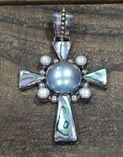 MERAV Indonesia Mabe Pearl Abalone Sterling Cross Pendant