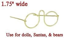 """Pkg of 3 MINIATURE EYE GLASSES GOLD WIRE 1.75"""" for DOLLS, BEARS, SANTAS No Glass"""