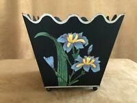 Vintage Black Tole Hand Painted Flowers Waste Basket Trash Can bathroom office