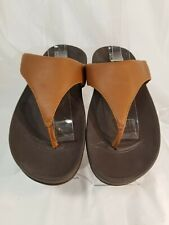 Fitflop Lulu Women's Brown Leather Flip Flop Sandals Size 5 M
