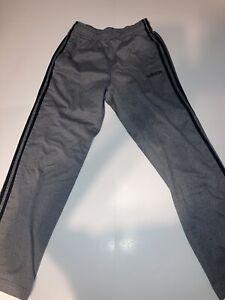 Men's Adidas 3-Stripes Athletic Grey/Black Sweatpants Joggers Drawstring Size M