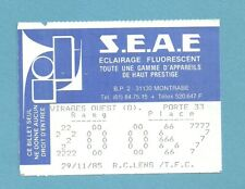 TICKET  TOULOUSE  FC  -  RC LENS 29/11/1985