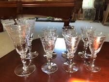 Vtg Lot Set 8 Signed Hawkes Stem Cut Glass ABP