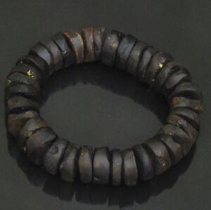 Massive Baltic amber bracelet Men's elegant raw unpolished dark cognac