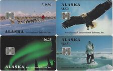 TK 3 Phonecard Alaska $3.50 Eagle, $10.50 Mushing, $26.25 Lights, $52,50 Eskimo