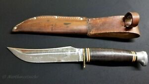 KABAR Vintage 70's Fixed Blade Stainless Steel Hunting Bowie Knife W/ Sheath.