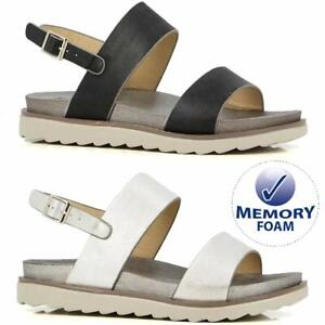 Ladies Low Wedge Sandals New Memory Foam Cushioned Holiday Summer Slingback Shoe