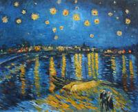 Van Gogh Starry Night Over the Rhone Oil Painting HandPainted Art Wall Repro