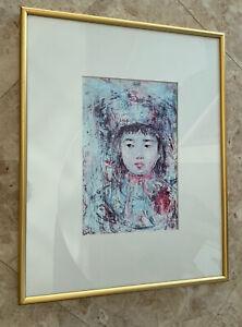 """Edna Hibel,  """"Young Child """" Matted & Framed Serigraph Print"""