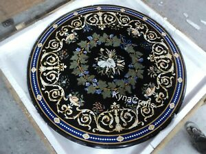 40 Inch Marble Dining Table Top with Marquetry Art Patio Table from Cottage Art