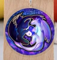 Dragon Ying Yang Keyring with Purple Blue Galaxy Gradient Background How Train 3