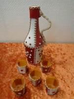 DDR Decoración Botella de Licor + 5X Plaste Copas - Piel Sintética Funda -