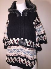American Rag Poncho Black Aztec Print FAUX fur Hooded Knit M/L $158