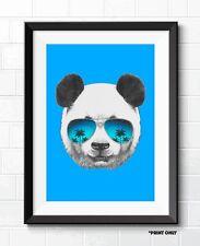 COOL PANDA FINE ART POP ART POSTER PRINT A1 A2 A3 A4 BLUE MODERN ART